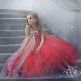 Girl dress wedding red elegant princess dress host catwalk Tune top flower pettiskirt