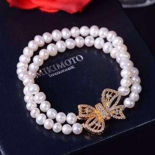 天然珍珠雙排蝴蝶結手鍊 pearl bracelet with ribbon