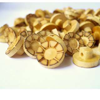 WB10155 - 11 x 6mm smoke effect mushroom shaped wooden buttons, wood buttons (10 pieces)  #craft
