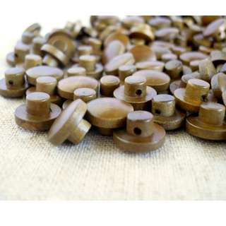 WB10158 - 13 x 8mm mushroom shaped wood buttons, wooden buttons (10 pieces) #craft