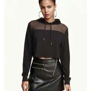 H&M half mesh hoodie