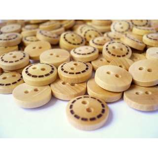 WB10150 - 11mm mini dotted line wooden buttons, wood buttons (10 pieces)  #craft