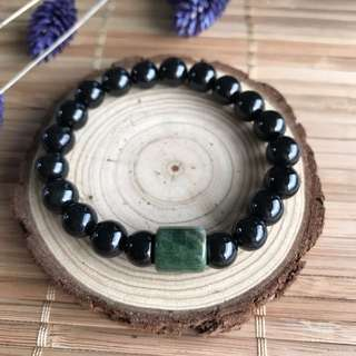 A-Grade Type A Natural Omphacite Jadeite Jade Beaded Bracelet with Green Barrel No.190057