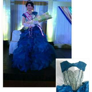 Sweetheart blue long prom gown (FOR RENT)