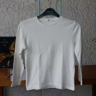 Uniqlo Plain White Long Sleeve Tee For Kids
