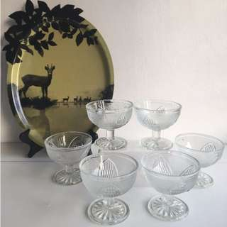Six (6) Vintage Footed Glass Cups / Sundae Cups from the 1960s / 1970s