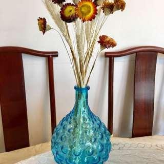 手工突花玻璃花瓶連乾花