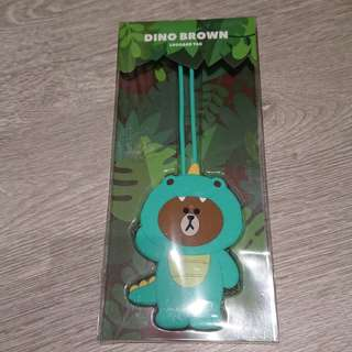 Line Friends Dino Brown Luggage Tag