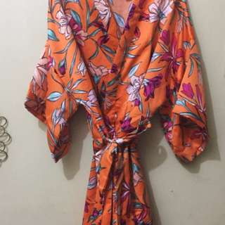 Cotton On Kimono Gown in Tropical Bouquet Amber Sunset