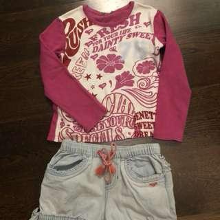 Roxy shorts & Benetton Long T shirt