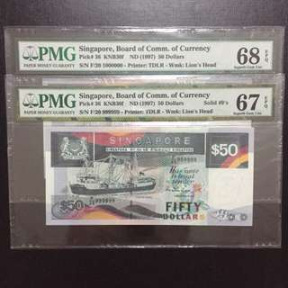 Solid 9 And Million Serial $50 Singapore Ship Series Notes (PMG Graded 67-68EPQ)
