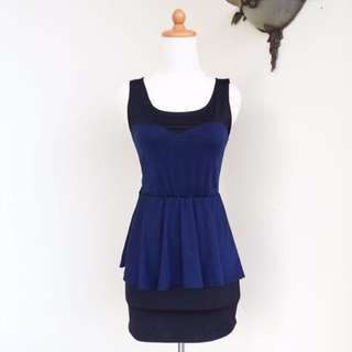 BLUE BLACK PEPLUM DRESS