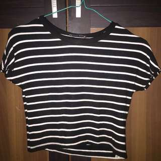 ZARA stripe cropped T-shirt