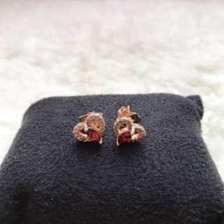 Gold Filled Heart Earrings (Red)