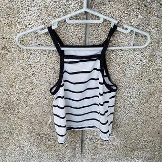 HALTER CROP TOP (BLACK AND WHITE STRIPES)