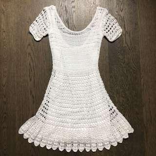 Club monaco White beach crochet summer dress small