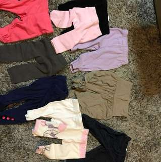 Assorted girls leggings and pants up to 6 months - Calvin Klein, Carters, Target, Bonds