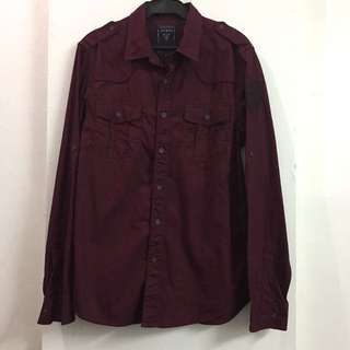 Authentic Guess maroon buttondown