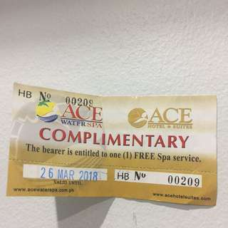 Ace Water Spa Complimentary Ticket