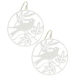 F21 Forever 21 Lasercut Oriental Bird Circle Earrings