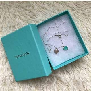 Tiffany & Co Double Heart Mini Blue Enamel