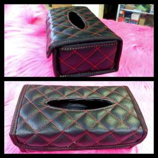 Leather quiltted tissue box