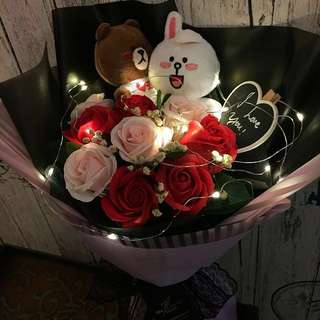 Valentine Flower - Brown and Cony With Scented Roses Bouquet