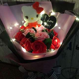 Valentine Flower - Hello kitty with 9 Stalk Scented Roses And Led lighting