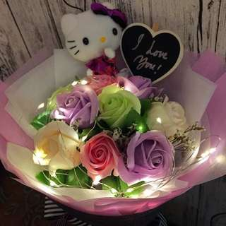 Authentic Hello Kitty Bouquet - 9 Stalk Scented Roses With LED Lighting