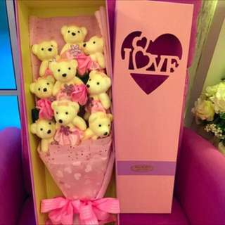 9 Bear with roses bouquet in gift box(red,pink, purple and blue colours)