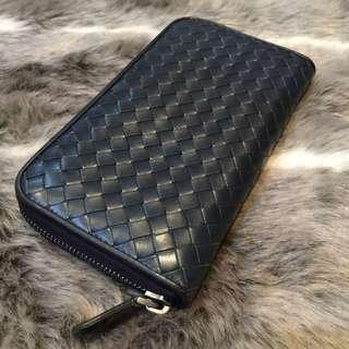 Bottega Veneta Navy Zippy Wallet