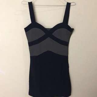 Navy Blue Bandage Dress