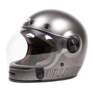 Bell Bullitt Helmet Metallic Titanium, SIZE Medium ONLY (D.O.T.-Certified)  Adult Full Face Street Cafe Racer Helmet