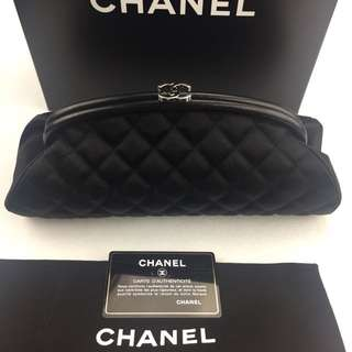 Authentic Chanel timeless clutch satin