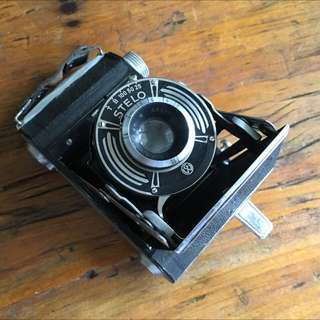Folding camera with leather case