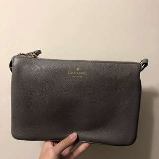 KATE SPADE 灰色TRIO斜背皮袋*100% REAL & NEW with Tag