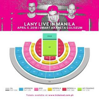 Good deal? 2 LANY LOWER BOX TICKETS (Pink code) seats are perfect for viewing and also near to VIP seats!!