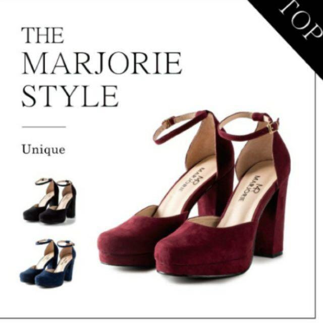 徵紅色粗跟厚底高跟鞋