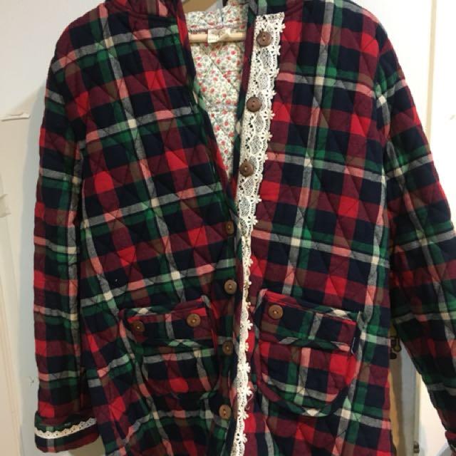 日系品牌-格紋外套