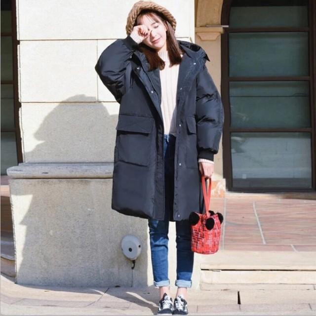 黑色長版鋪棉厚外套