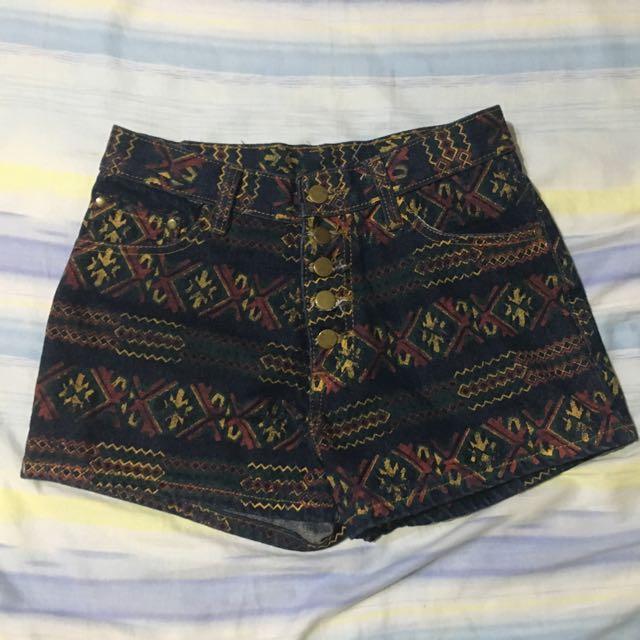 圖騰民族風牛仔高腰褲