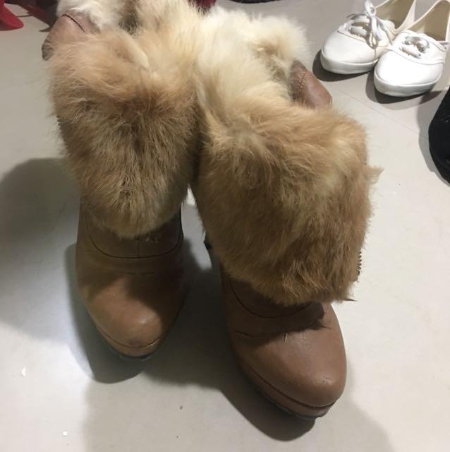 兔毛咖啡短靴