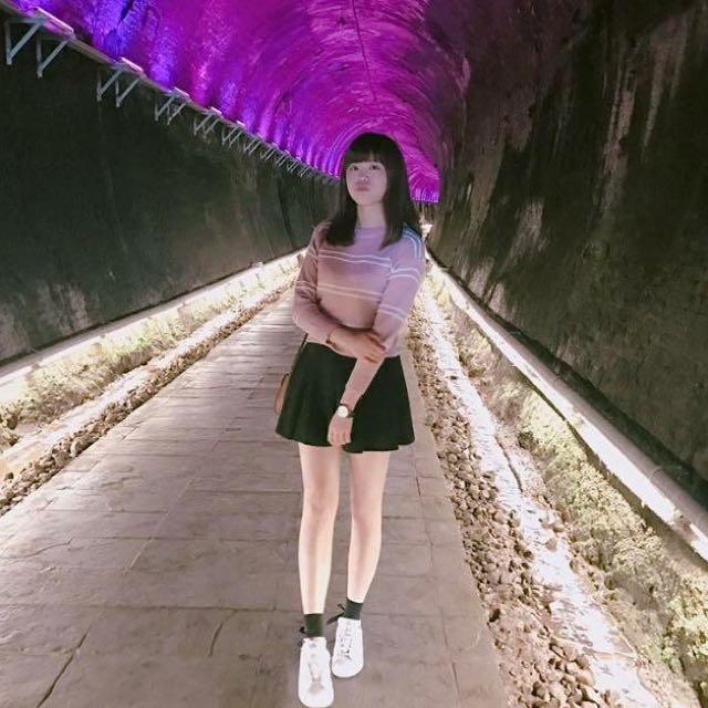 粉色條紋針織毛衣
