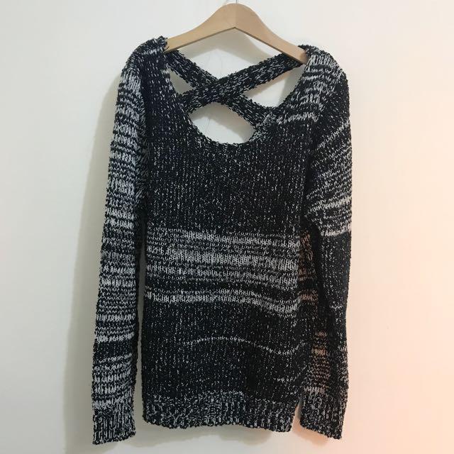 黑色後交叉混針織毛衣上衣