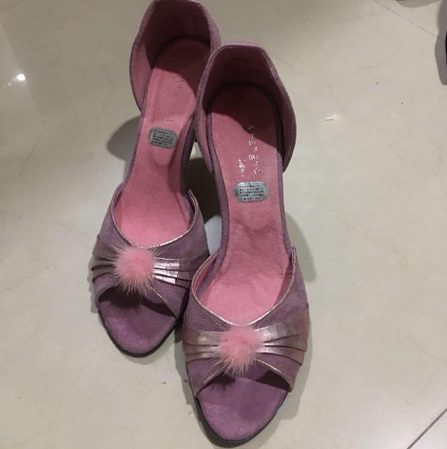 日本專櫃粉紫真皮麂皮高跟鞋