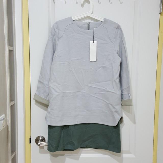 正韓製灰綠配色毛料長上衣/連身洋裝