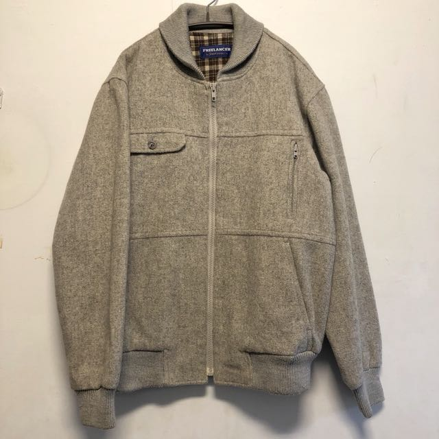古著鋪棉羊毛外套 美式古著 Jantzen 灰 長袖外套  2月
