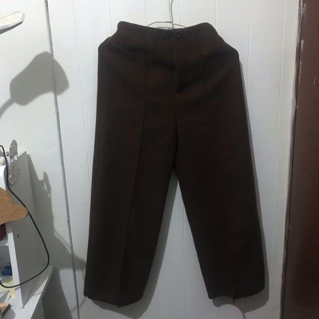 寬褲 超顯瘦 咖啡色 折線