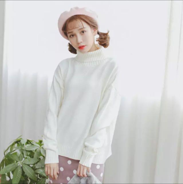 全新 韓版高領素面全白毛衣 高領毛衣 毛衣 落肩