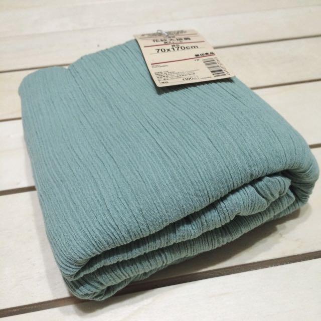 無印良品 MUJI 花紋大披肩 圍巾 綠色 印度棉